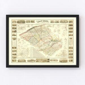 Vintage Map of Lehigh County, Pennsylvania 1862