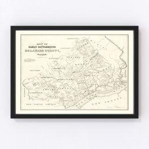 Vintage Map of Delaware County, Pennsylvania 1862