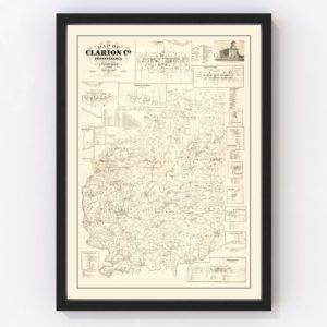 Vintage Map of Clarion County, Pennsylvania 1865