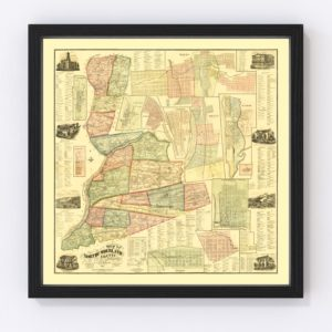Vintage Map of Northumberland County, Pennsylvania 1874