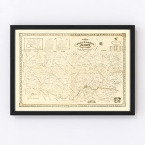 Vintage Map of Montgomery County, Pennsylvania 1849