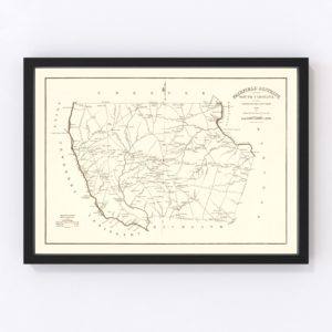 Vintage Map of Fairfield County, South Carolina 1825