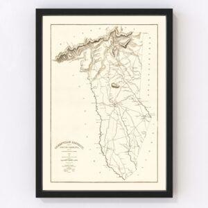 Vintage Map of Greenville County, South Carolina 1825
