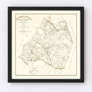 Vintage Map of Newberry County, South Carolina 1820