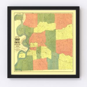 Vintage Map of Shelby County, Tennessee 1888