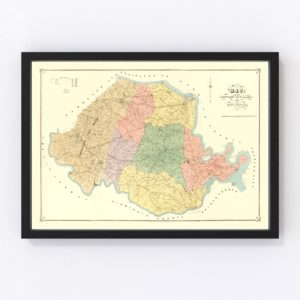 Vintage Map of Chesterfield County, Virginia 1888