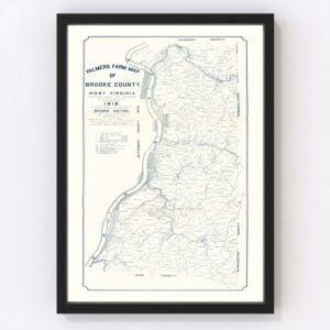 Vintage Map of Brooke County, West Virginia 1912