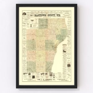 Vintage Map of Manitowac County, Wisconsin 1902