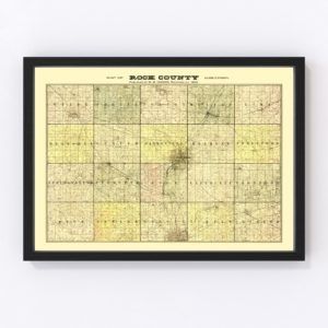 Vintage Map of Rock County, Wisconsin 1900