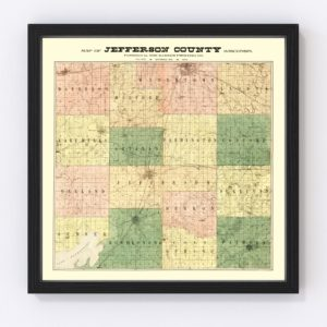 Vintage Map of Jefferson County, Wisconsin 1900