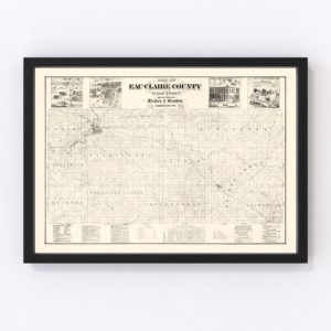 Vintage Map of Eau Claire County, Wisconsin 1878