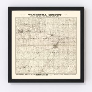 Vintage Map of Waukesha County, Wisconsin 1873