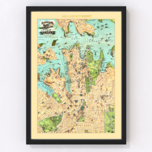 Vintage Map of Sydney, Australia 1909