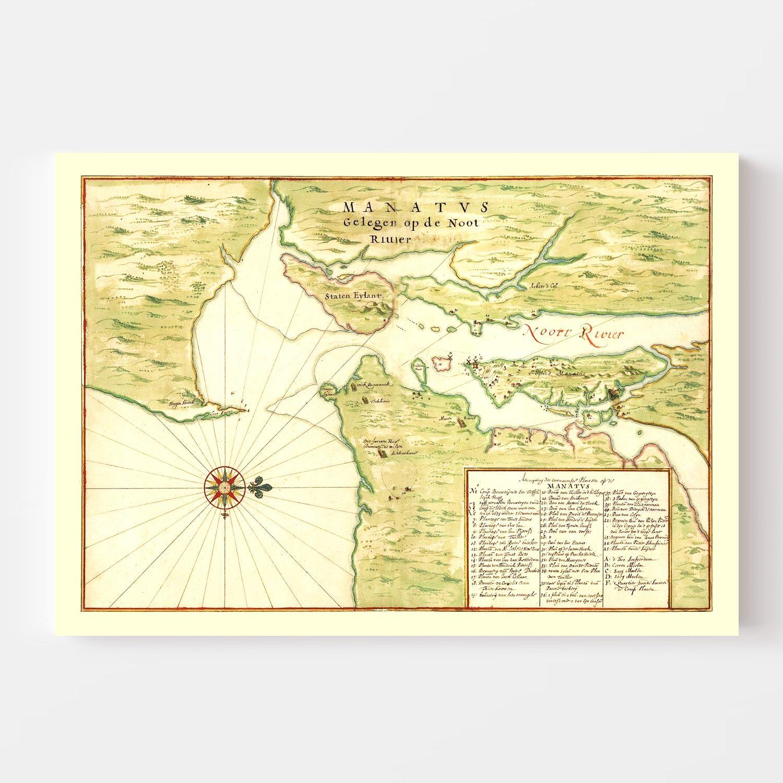 Vintage Map of New York Region, 1670