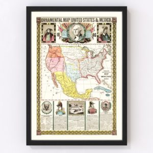 Vintage Map of Mexico & United States 1846