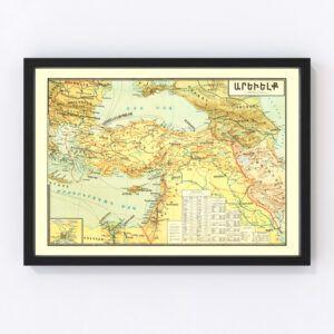 Vintage Map of Turkey 1900