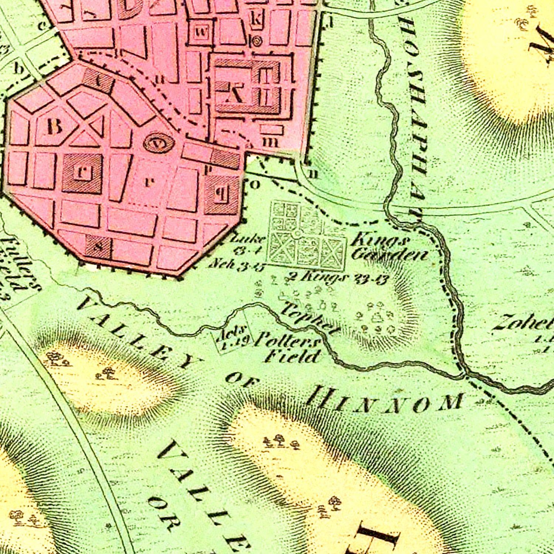 Vintage Map of Jerusalem, Israel 1831
