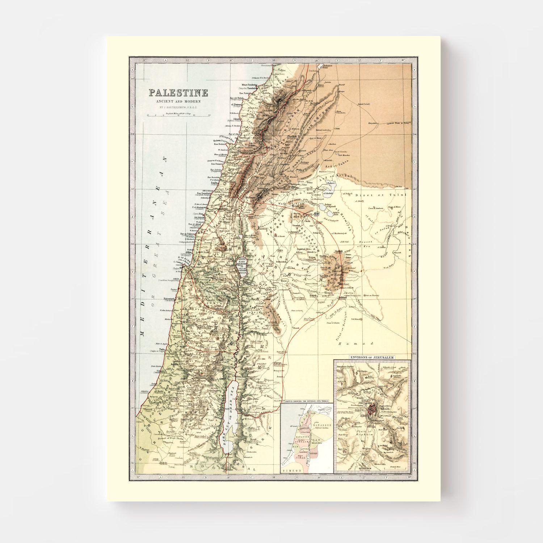 Vintage Map of Palestine 1871