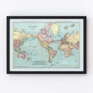 Vintage World Map 1912
