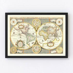 Vintage World Map 1642