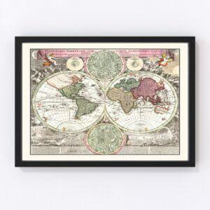 Vintage World Map 1716