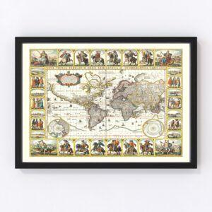 Vintage World Map 1652