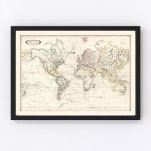 Vintage World Map 1841