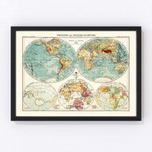 Vintage World Map 1911