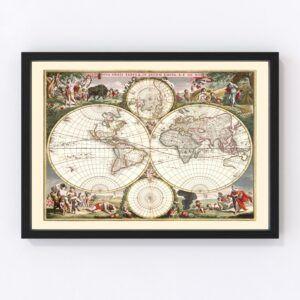 Vintage World Map 1682