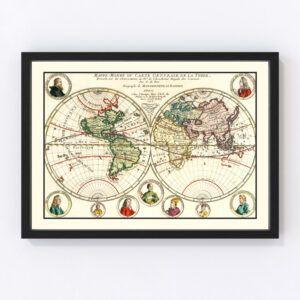Vintage World Map 1717