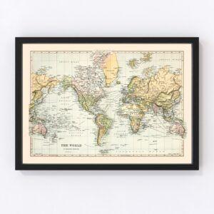 Vintage World Map 1892