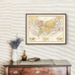 Vintage World Map (Sir John Herschel's Projection) 1871