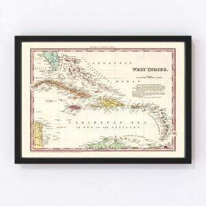 Vintage Map of West Indies 1834