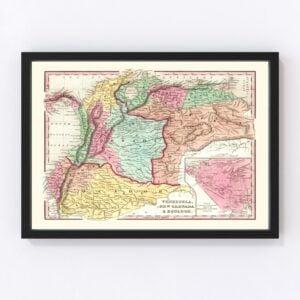 Vintage Map of Colombia, Venezuela & Ecuador 1842