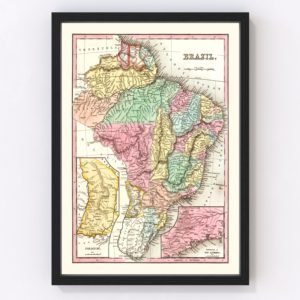 Vintage Map of Brazil 1842