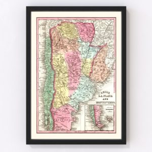Vintage Map of Chile, Argentina & Uruguay 1842