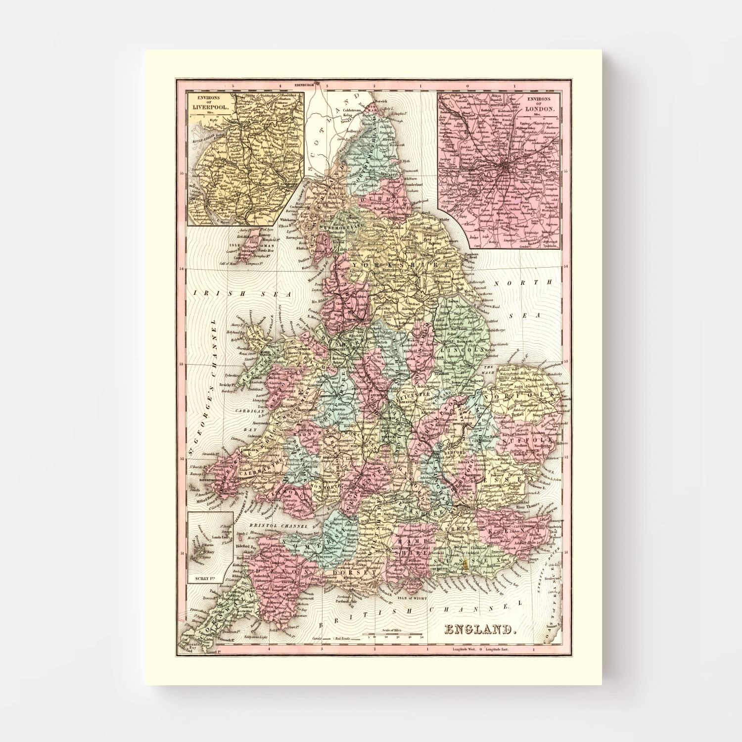 Vintage Map of England 1842