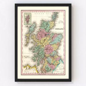 Vintage Map of Scotland 1842