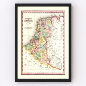 Vintage Map of Holland & Belgium 1836