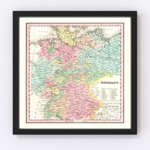 Vintage Map of Germany 1842
