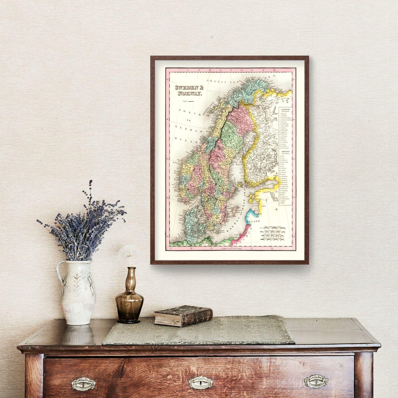 Vintage Map of Sweden & Norway 1836