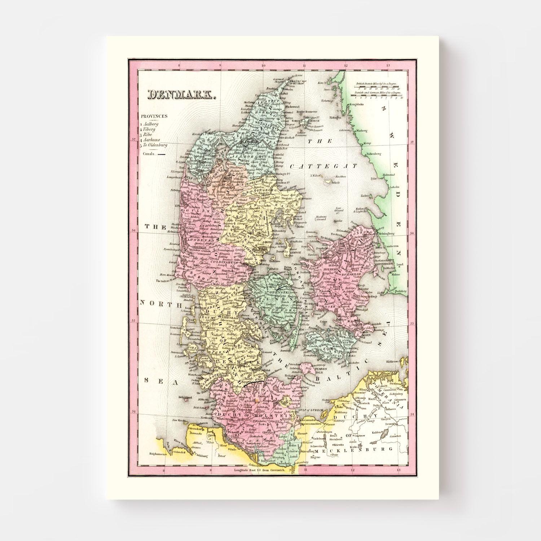 Vintage Map of Denmark 1836