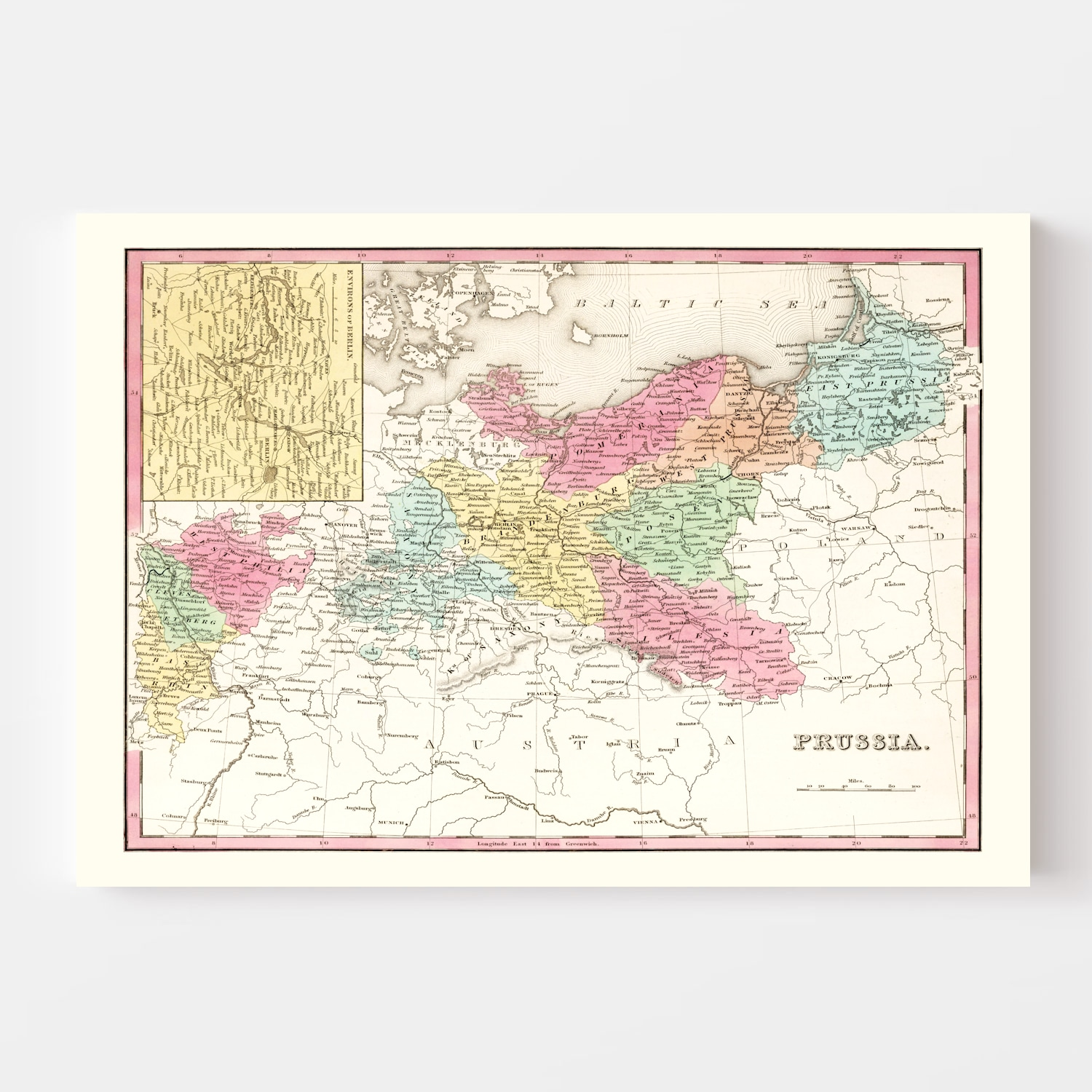 Vintage Map of Prussia 1836