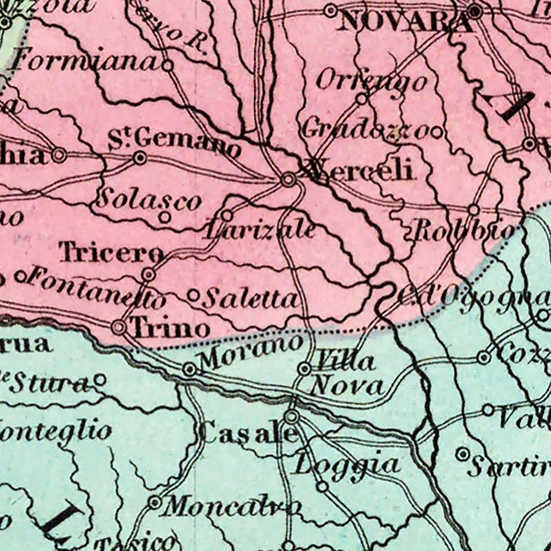 Vintage Map of Kingdom of Sardinia, 1842