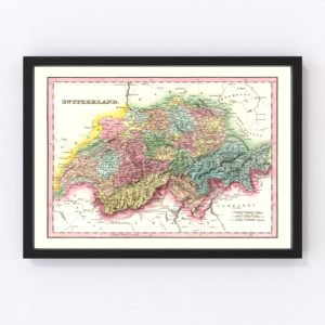 Vintage Map of Switzerland 1836