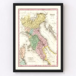 Vintage Map of North Italy 1836