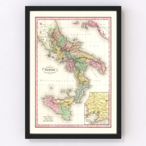 Vintage Map of Italy 1836