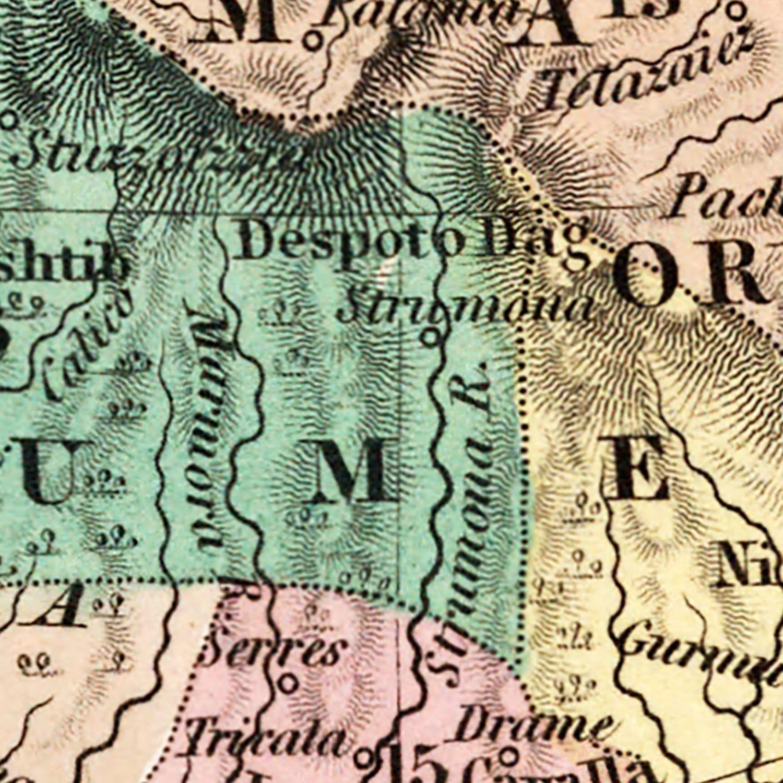 Vintage Map of Turkey (in Europe) 1836