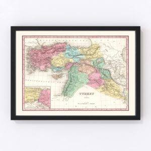 Vintage Map of Turkey (in Asia) 1836