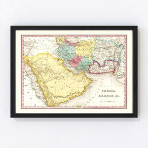 Vintage Map of Persia & Arabia 1836